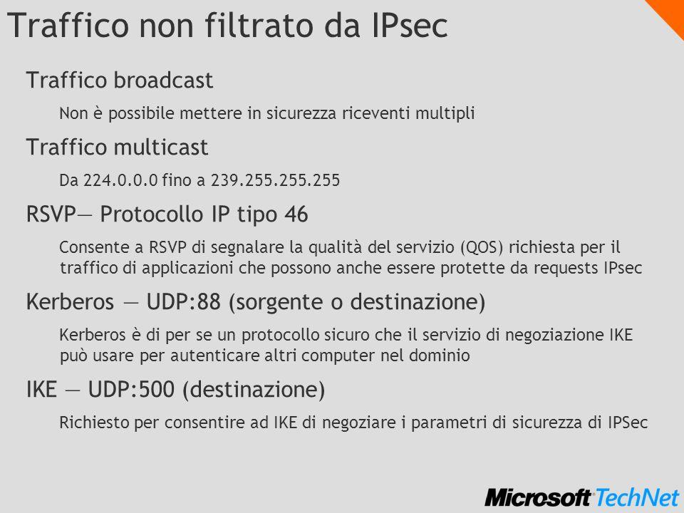 Traffico non filtrato da IPsec Traffico broadcast Non è possibile mettere in sicurezza riceventi multipli Traffico multicast Da 224.0.0.0 fino a 239.2