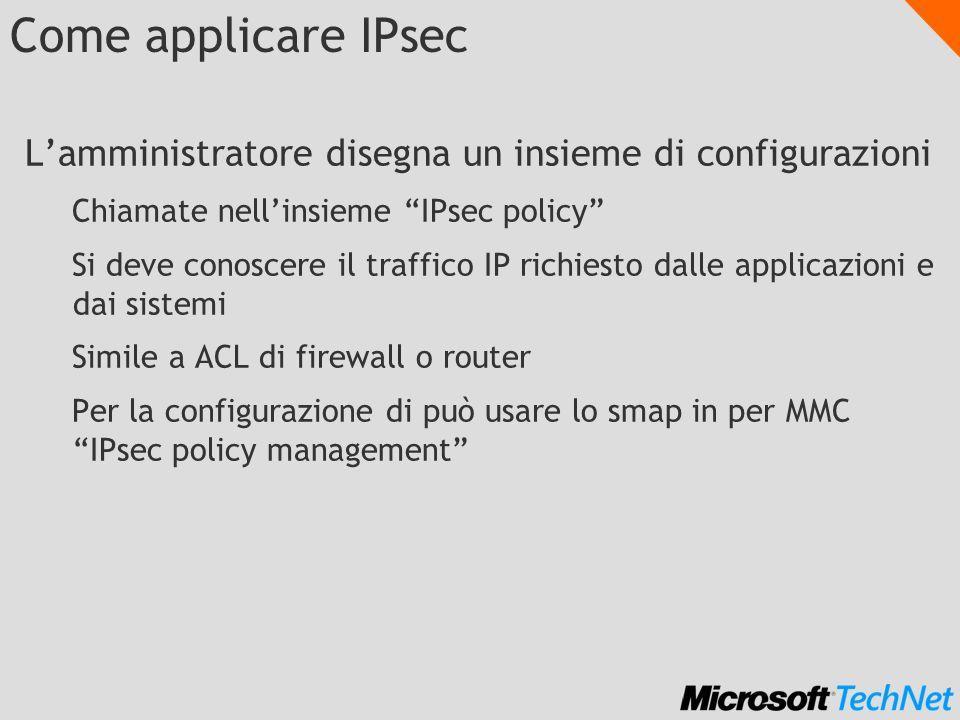 Come applicare IPsec Lamministratore disegna un insieme di configurazioni Chiamate nellinsieme IPsec policy Si deve conoscere il traffico IP richiesto