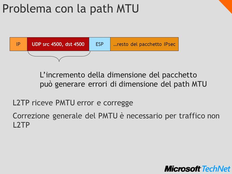 Problema con la path MTU L2TP riceve PMTU error e corregge Correzione generale del PMTU è necessario per traffico non L2TP UDP src 4500, dst 4500 IP E