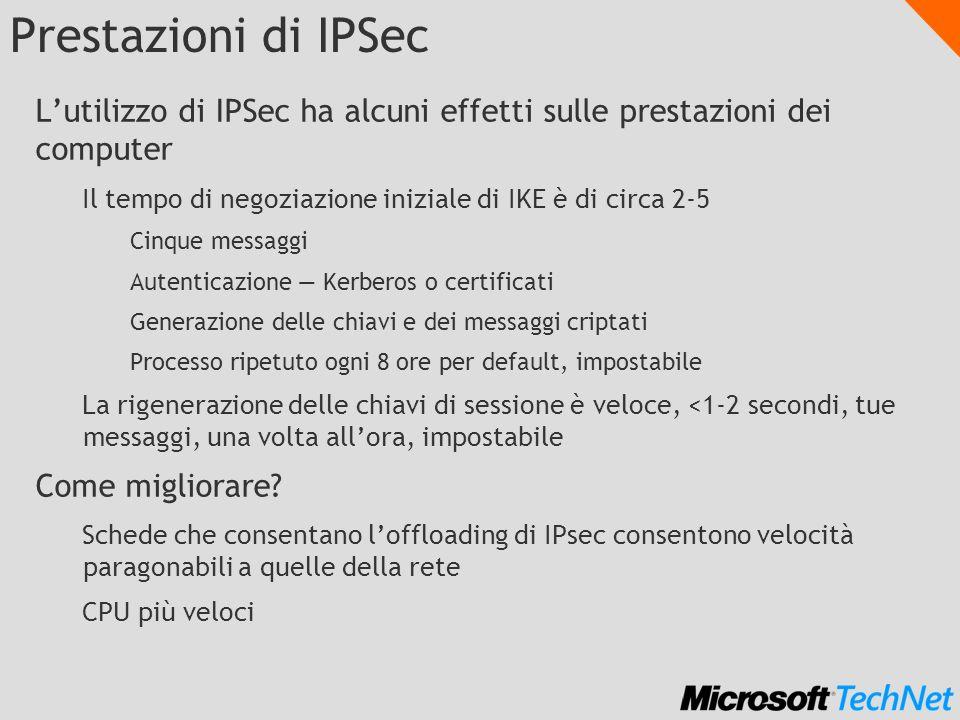 Prestazioni di IPSec Lutilizzo di IPSec ha alcuni effetti sulle prestazioni dei computer Il tempo di negoziazione iniziale di IKE è di circa 2-5 Cinqu