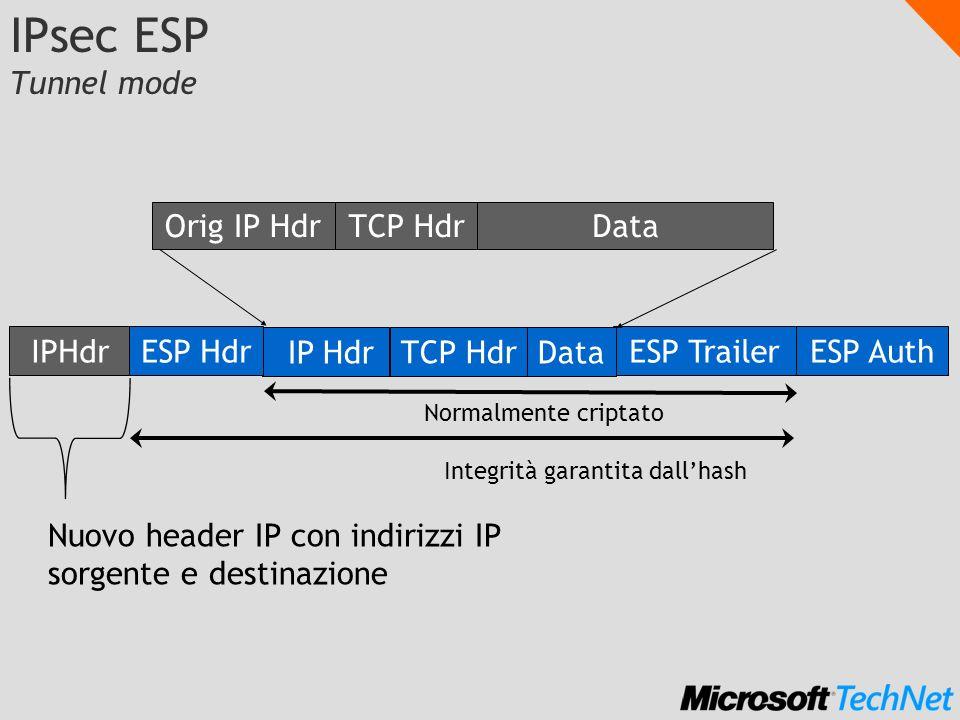 filtri Generazione della Security Association Internet Key Exchange (IKE) Identity Protect Mode (RFC 2409) Fase 1 Main Mode stabilisce la IKE SA canale fidato tra i sistemi, la negoziazione stabilisce il canale criptato, la mutua fiducia e dinamicamente genera le chiave condivisa (master key) Fase 2 Quick Mode stabilisce le IPsec SA per la protezione dei dati, una SA per ogni direzione identificata da unetichetta per pacchetto (SPI), accordo su algoritmo e formato dei pacchetti, generate le chiavi di sessione derivate dalla master key NIC TCPIP Applicazione server o gateway IPsec driver IPSec policy agent IKE (ISAKMP) IPsec driver IPSec policy agent IKE (ISAKMP) NIC TCPIP Applicazione o servizio client IKE responder IKE initiator UDP:500 negoziazione 1 IKE SA 2 IPsec SA IP protocollo 50/51 filtri