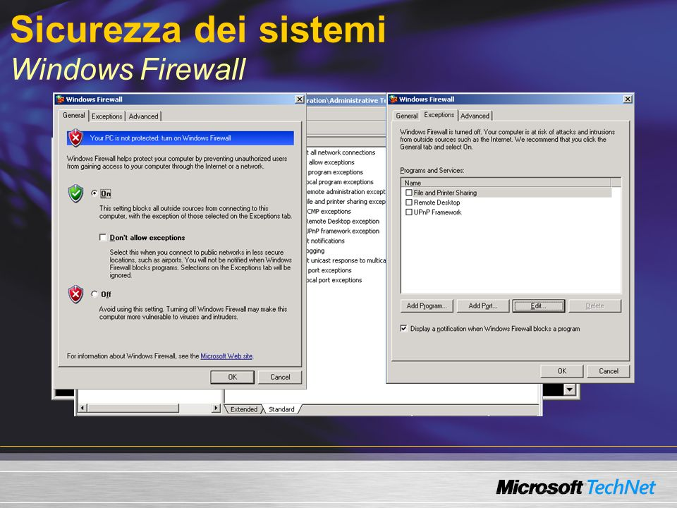 Sicurezza dei sistemi Windows Firewall