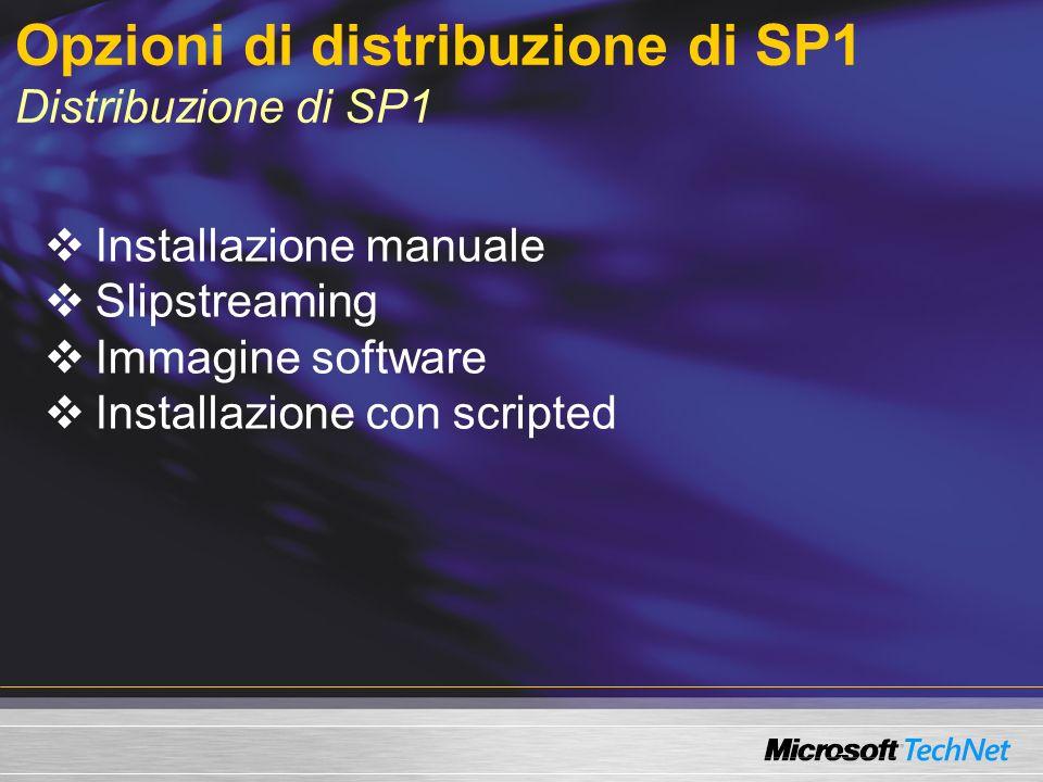 Opzioni di distribuzione di SP1 Distribuzione di SP1 Installazione manuale Slipstreaming Immagine software Installazione con scripted