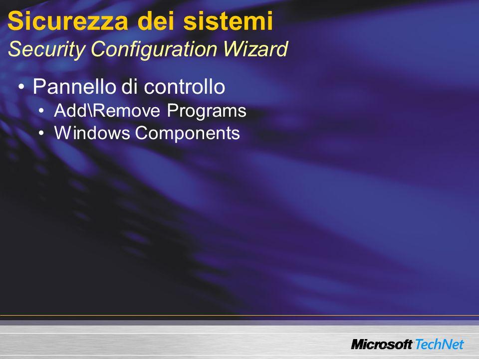 Sicurezza dei sistemi Security Configuration Wizard Pannello di controllo Add\Remove Programs Windows Components