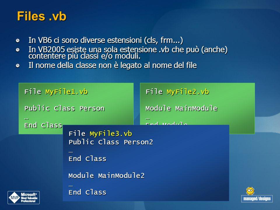 Files.vb In VB6 ci sono diverse estensioni (cls, frm...) In VB2005 esiste una sola estensione.vb che può (anche) contentere più classi e/o moduli. Il