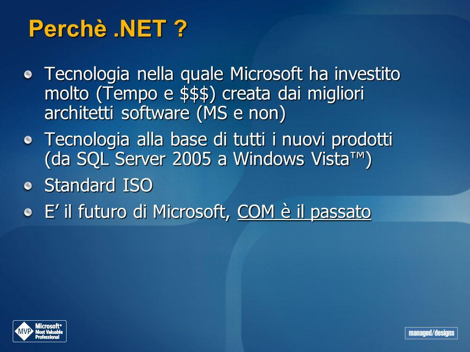 Perchè.NET ? Tecnologia nella quale Microsoft ha investito molto (Tempo e $$$) creata dai migliori architetti software (MS e non) Tecnologia alla base