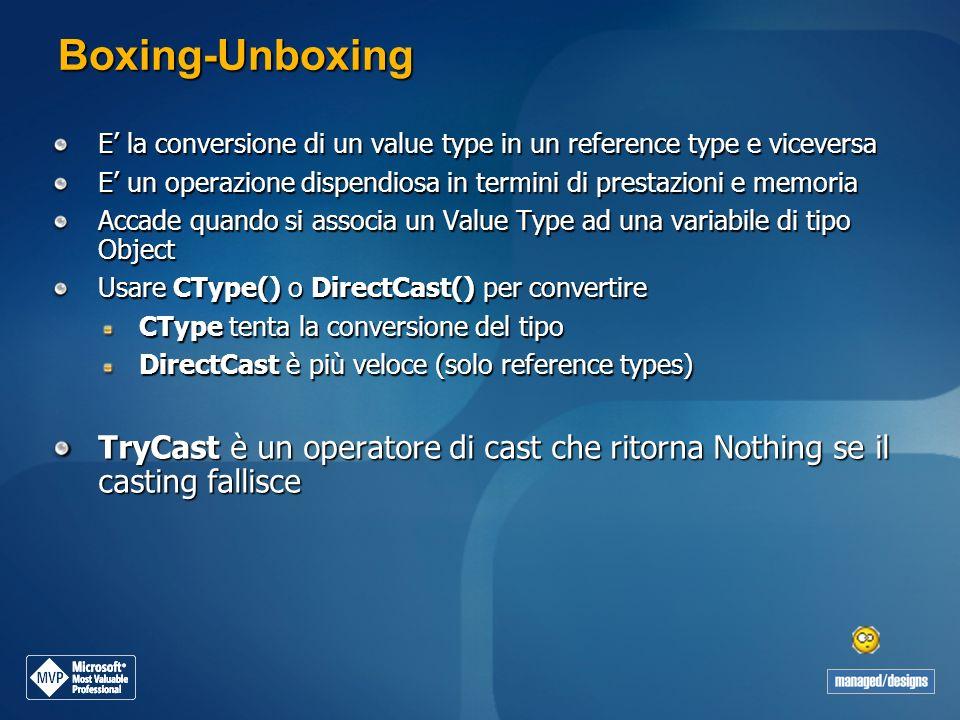 Boxing-Unboxing E la conversione di un value type in un reference type e viceversa E un operazione dispendiosa in termini di prestazioni e memoria Acc