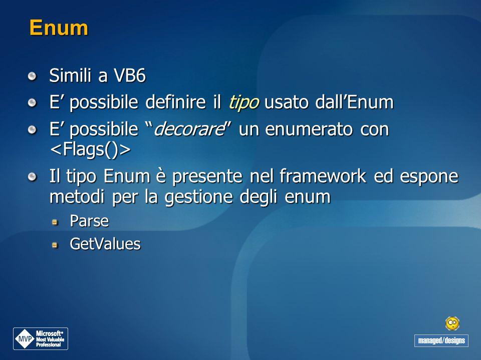 Enum Simili a VB6 E possibile definire il tipo usato dallEnum E possibile decorare un enumerato con E possibile decorare un enumerato con Il tipo Enum