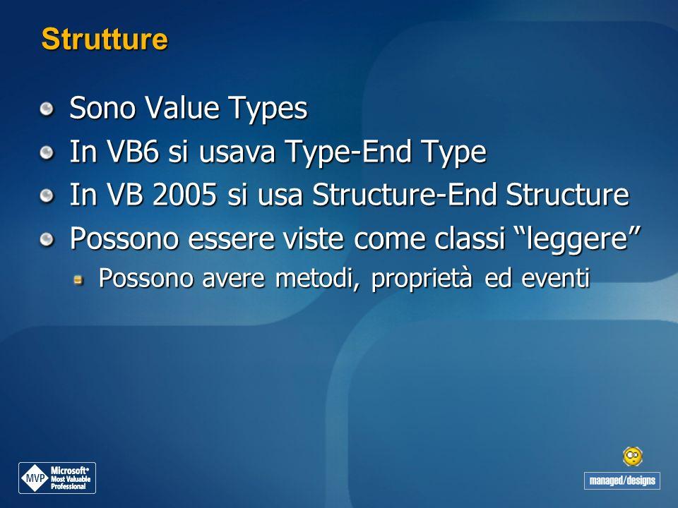 Strutture Sono Value Types In VB6 si usava Type-End Type In VB 2005 si usa Structure-End Structure Possono essere viste come classi leggere Possono av
