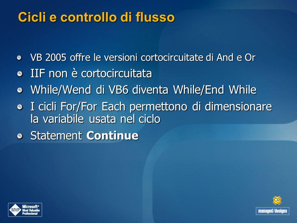 Cicli e controllo di flusso VB 2005 offre le versioni cortocircuitate di And e Or IIF non è cortocircuitata While/Wend di VB6 diventa While/End While