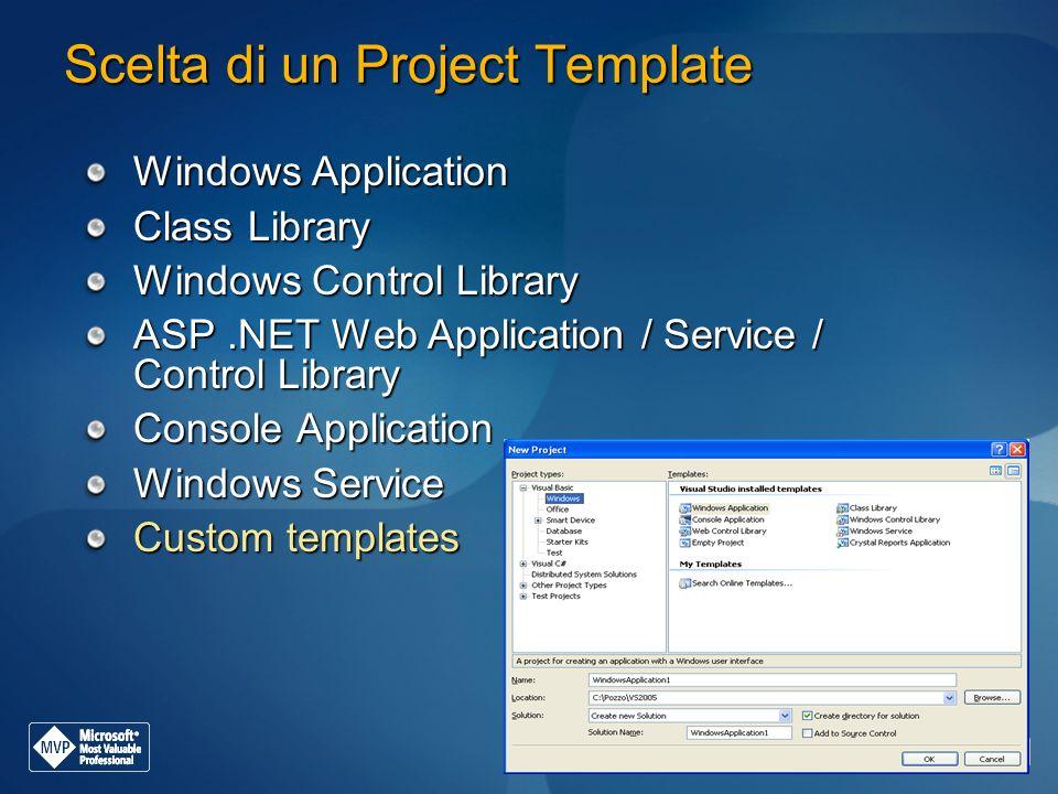 Scelta di un Project Template Windows Application Class Library Windows Control Library ASP.NET Web Application / Service / Control Library Console Ap