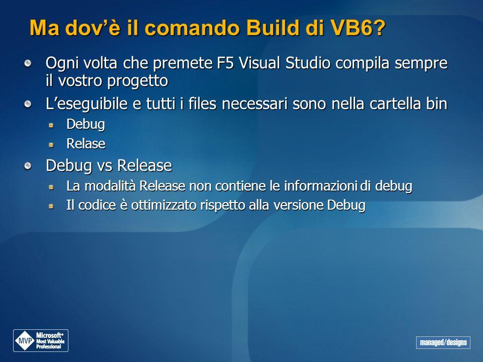 Ma dovè il comando Build di VB6? Ogni volta che premete F5 Visual Studio compila sempre il vostro progetto Leseguibile e tutti i files necessari sono