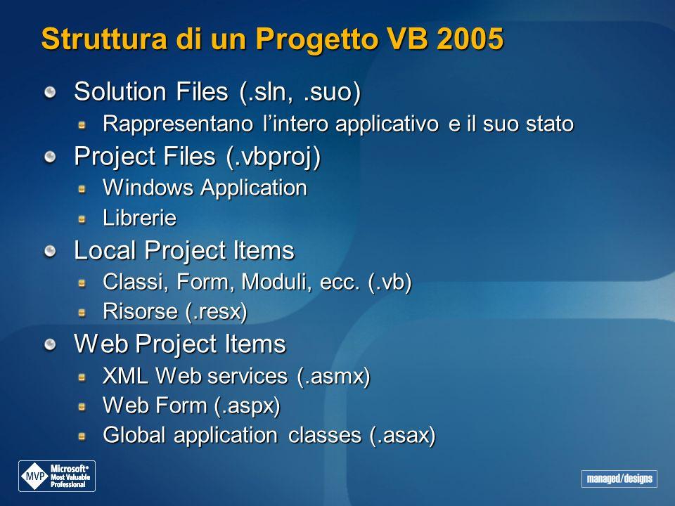Struttura di un Progetto VB 2005 Solution Files (.sln,.suo) Rappresentano lintero applicativo e il suo stato Project Files (.vbproj) Windows Applicati