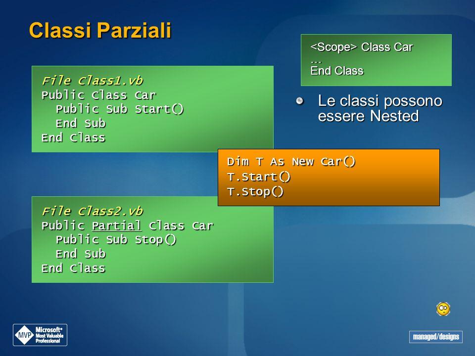 Classi Parziali Class Car … End Class Class Car … End Class File Class1.vb Public Class Car Public Sub Start() Public Sub Start() End Sub End Sub End