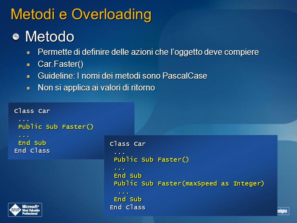 Metodi e Overloading Metodo Permette di definire delle azioni che loggetto deve compiere Car.Faster() Guideline: I nomi dei metodi sono PascalCase Non