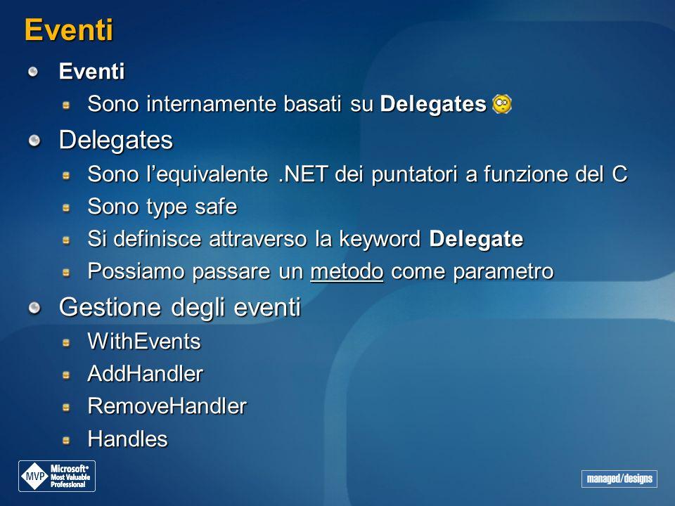 Eventi Eventi Sono internamente basati su Delegates Delegates Sono lequivalente.NET dei puntatori a funzione del C Sono type safe Si definisce attrave