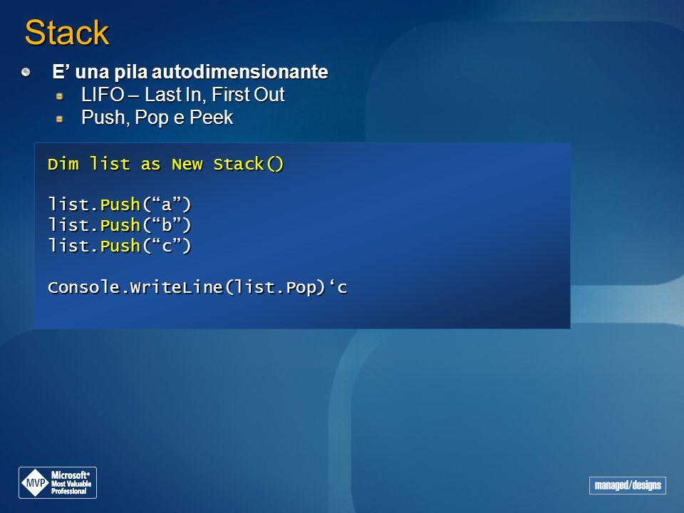 Stack E una pila autodimensionante LIFO – Last In, First Out Push, Pop e Peek Dim list as New Stack() list.Push(a) list.Push(b) list.Push(c) Console.W