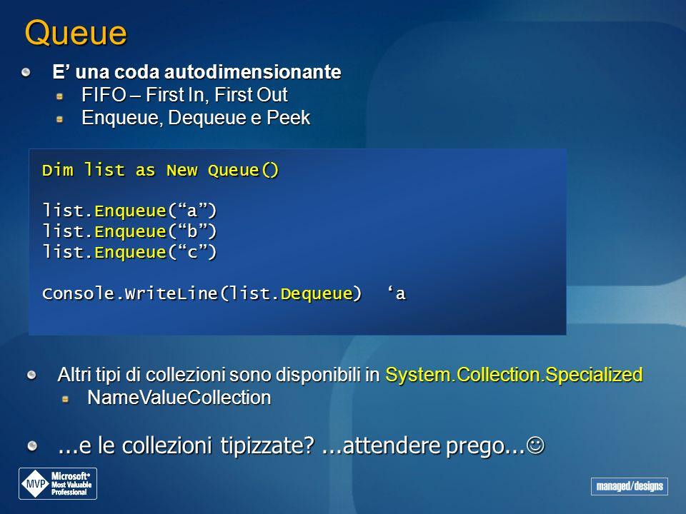 Queue E una coda autodimensionante FIFO – First In, First Out Enqueue, Dequeue e Peek Dim list as New Queue() list.Enqueue(a) list.Enqueue(b) list.Enq