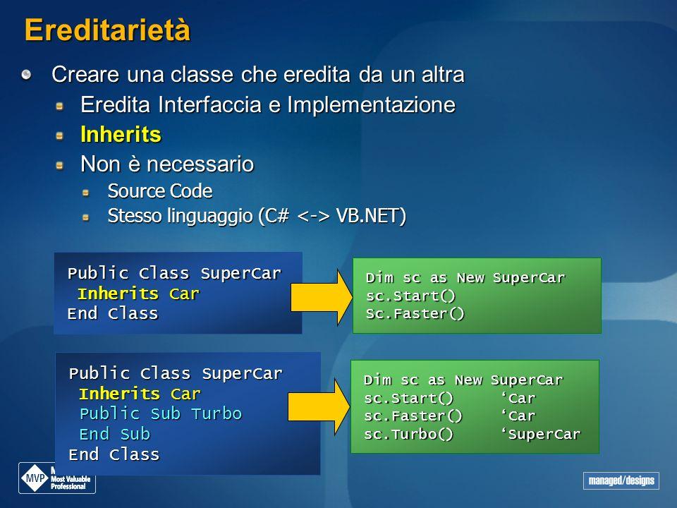 Ereditarietà Creare una classe che eredita da un altra Eredita Interfaccia e Implementazione Inherits Non è necessario Source Code Stesso linguaggio (