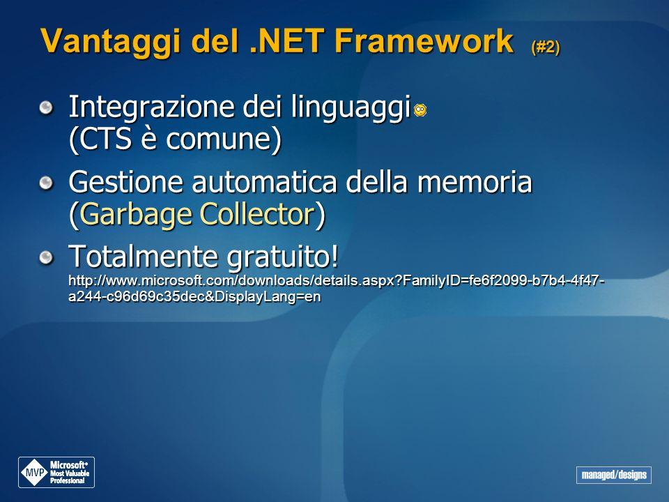 Vantaggi del.NET Framework (#2) Integrazione dei linguaggi (CTS è comune) Gestione automatica della memoria (Garbage Collector) Totalmente gratuito! h