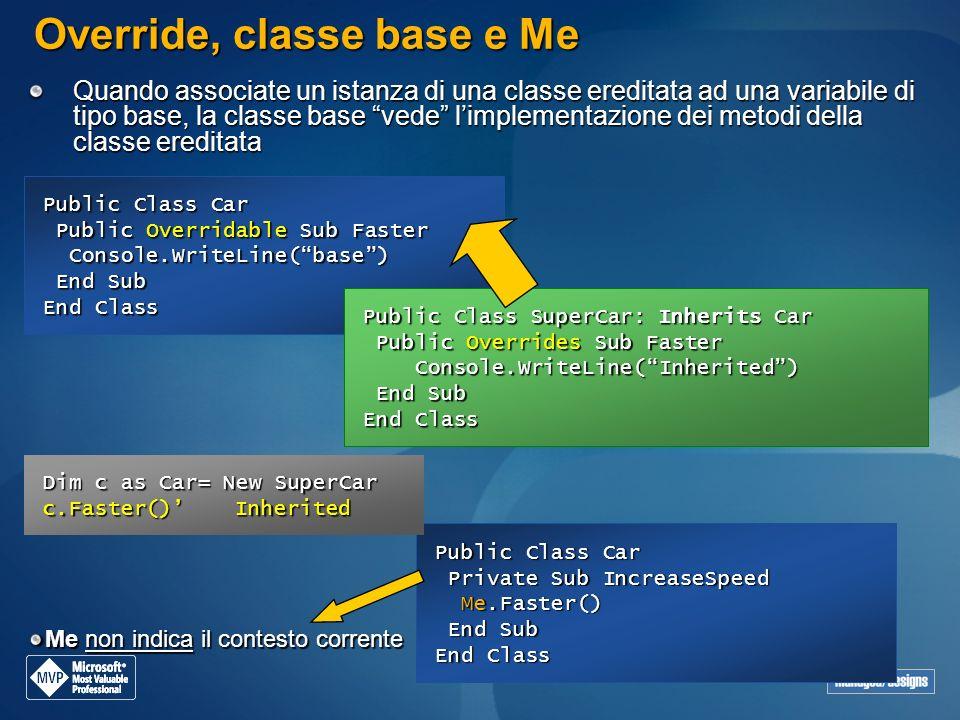 Public Class Car Private Sub IncreaseSpeed Me.Faster() Private Sub IncreaseSpeed Me.Faster() End Sub End Sub End Class Override, classe base e Me Quan
