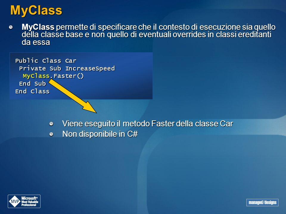 Public Class Car Private Sub IncreaseSpeed MyClass.Faster() Private Sub IncreaseSpeed MyClass.Faster() End Sub End Sub End Class MyClass MyClass perme