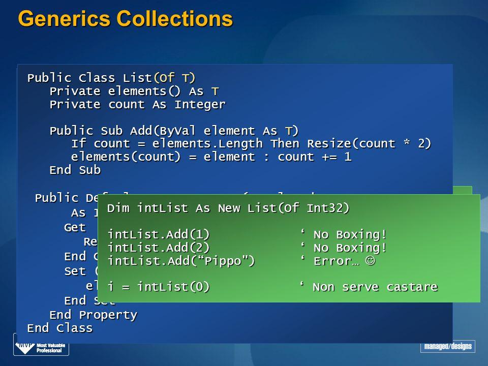 Generics Collections Public Class List Private elements() As Object Private elements() As Object Private count As Integer Private count As Integer Pub