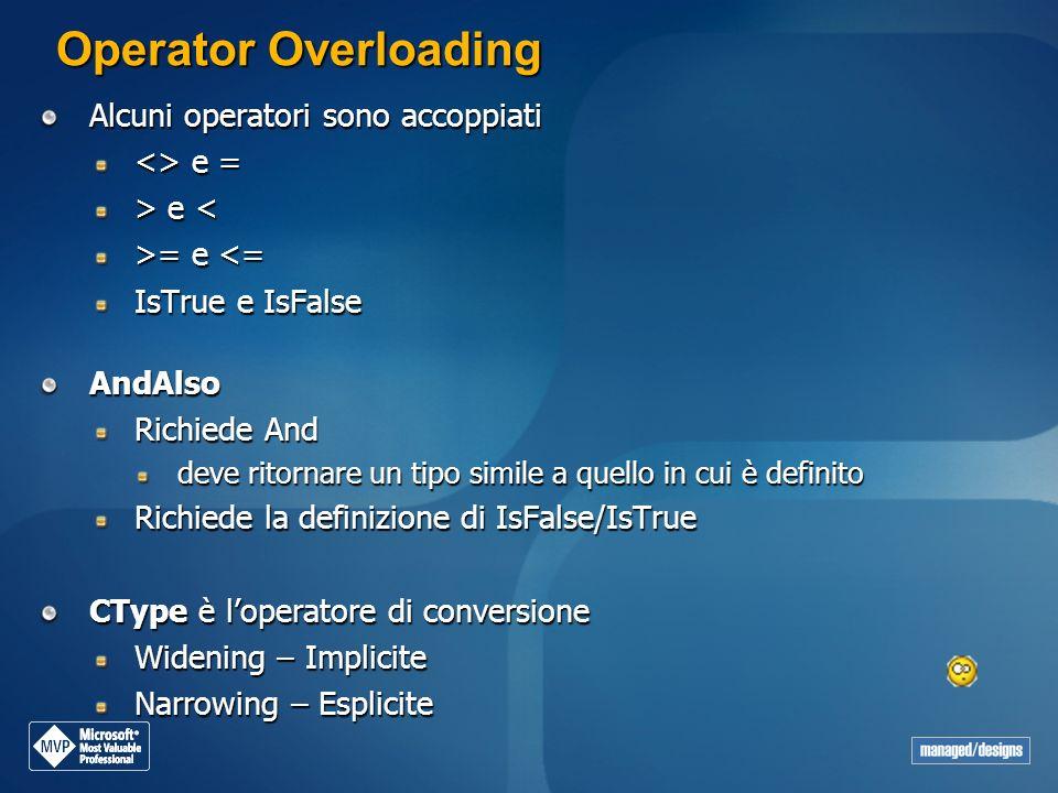 Operator Overloading Alcuni operatori sono accoppiati <> e = > e e < >= e = e <= IsTrue e IsFalse AndAlso Richiede And deve ritornare un tipo simile a