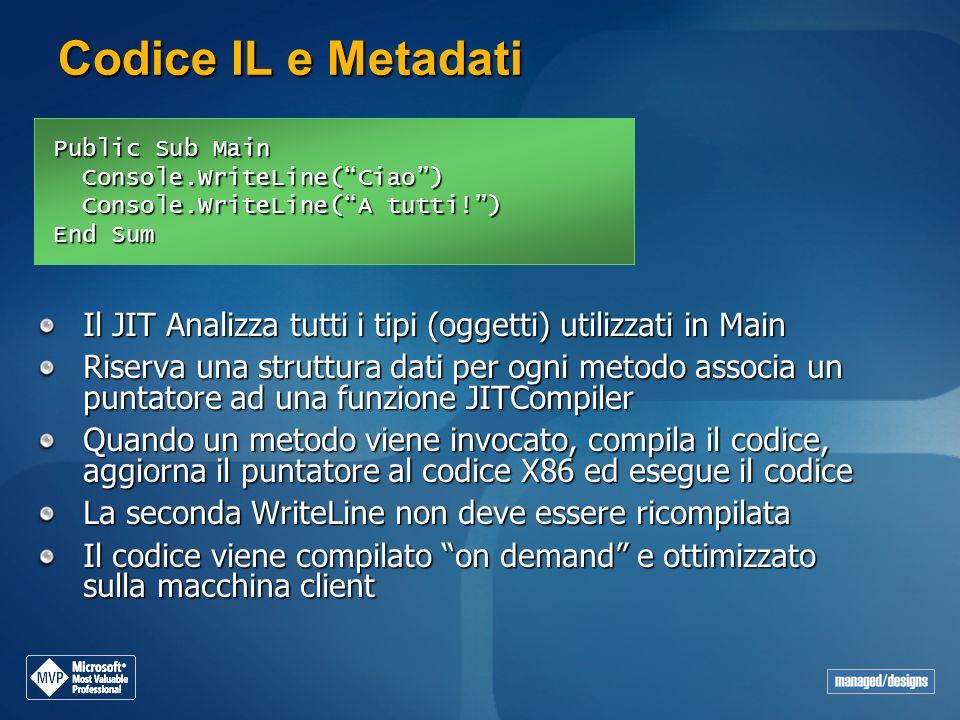 Codice IL e Metadati Public Sub Main Console.WriteLine(Ciao) Console.WriteLine(Ciao) Console.WriteLine(A tutti!) Console.WriteLine(A tutti!) End Sum I