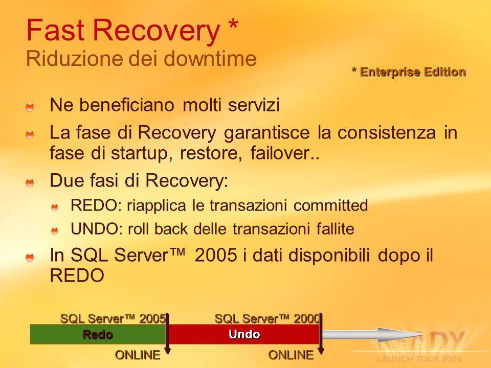 Redo Fast Recovery * Riduzione dei downtime Ne beneficiano molti servizi La fase di Recovery garantisce la consistenza in fase di startup, restore, failover..