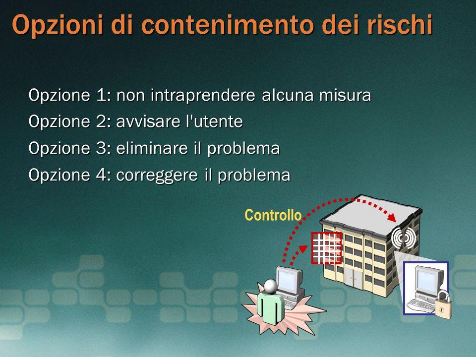 Opzioni di contenimento dei rischi Opzione 1: non intraprendere alcuna misura Opzione 2: avvisare l'utente Opzione 3: eliminare il problema Opzione 4: