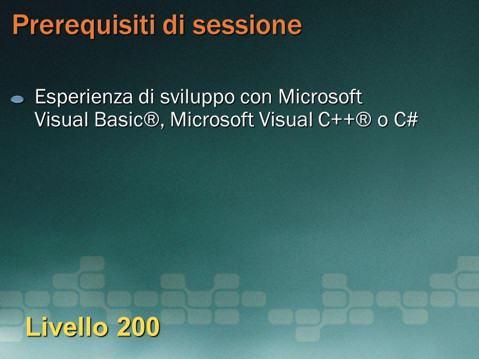 Prerequisiti di sessione Esperienza di sviluppo con Microsoft Visual Basic®, Microsoft Visual C++® o C# Livello 200