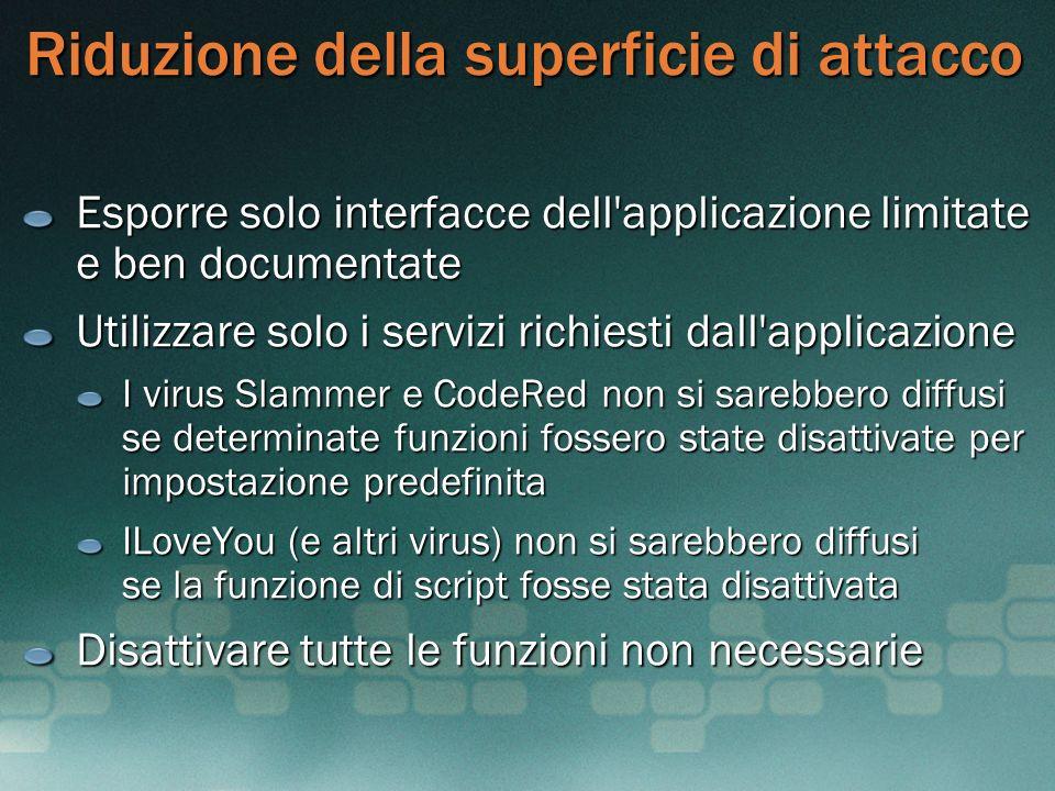 Riduzione della superficie di attacco Esporre solo interfacce dell'applicazione limitate e ben documentate Utilizzare solo i servizi richiesti dall'ap