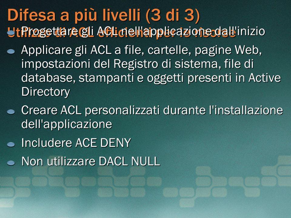 Difesa a più livelli (3 di 3) Utilizzo di ACL efficienti per le risorse Progettare gli ACL nell'applicazione dall'inizio Applicare gli ACL a file, car