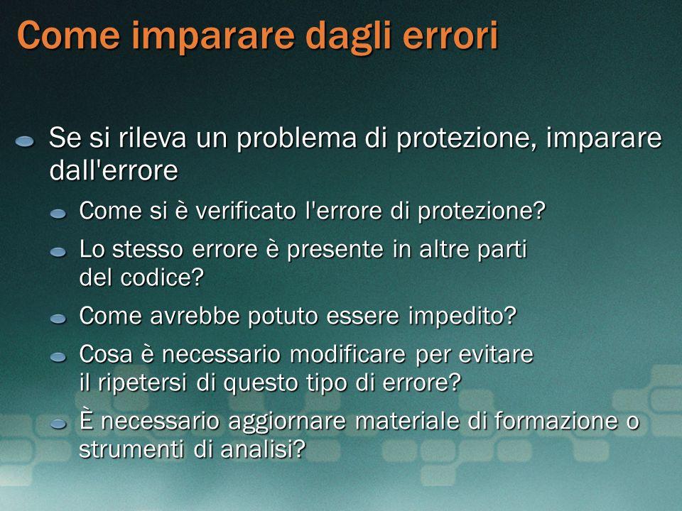 Come imparare dagli errori Se si rileva un problema di protezione, imparare dall'errore Come si è verificato l'errore di protezione? Lo stesso errore