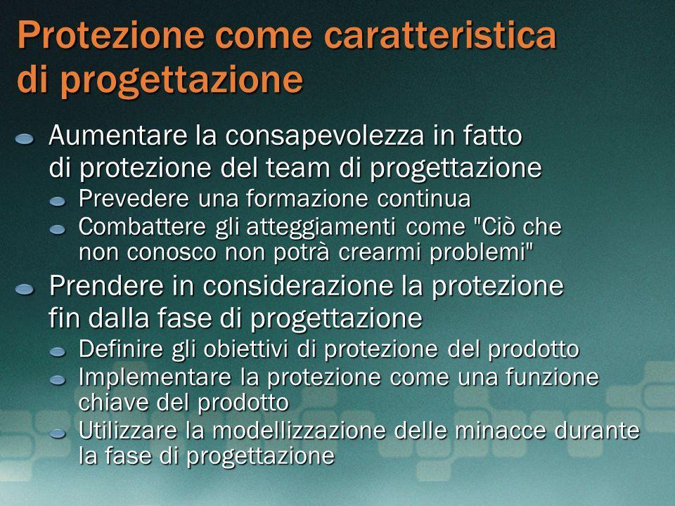 Protezione come caratteristica di progettazione Aumentare la consapevolezza in fatto di protezione del team di progettazione Prevedere una formazione
