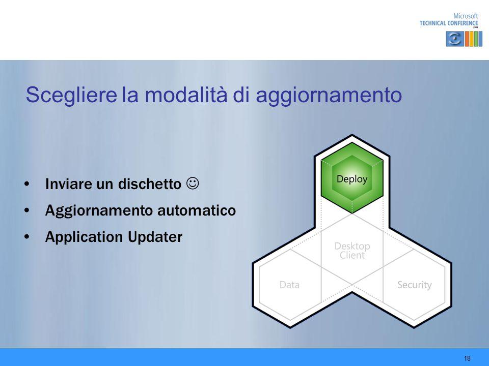 18 Scegliere la modalità di aggiornamento Inviare un dischetto Aggiornamento automatico Application Updater