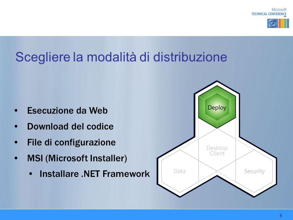 6 Scegliere la modalità di distribuzione Esecuzione da Web Download del codice File di configurazione MSI (Microsoft Installer) Installare.NET Framework