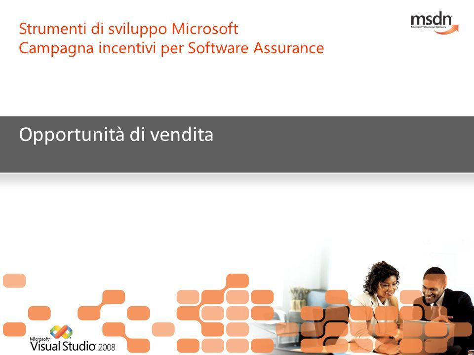 Strumenti di sviluppo Microsoft Campagna incentivi per Software Assurance Opportunità di vendita