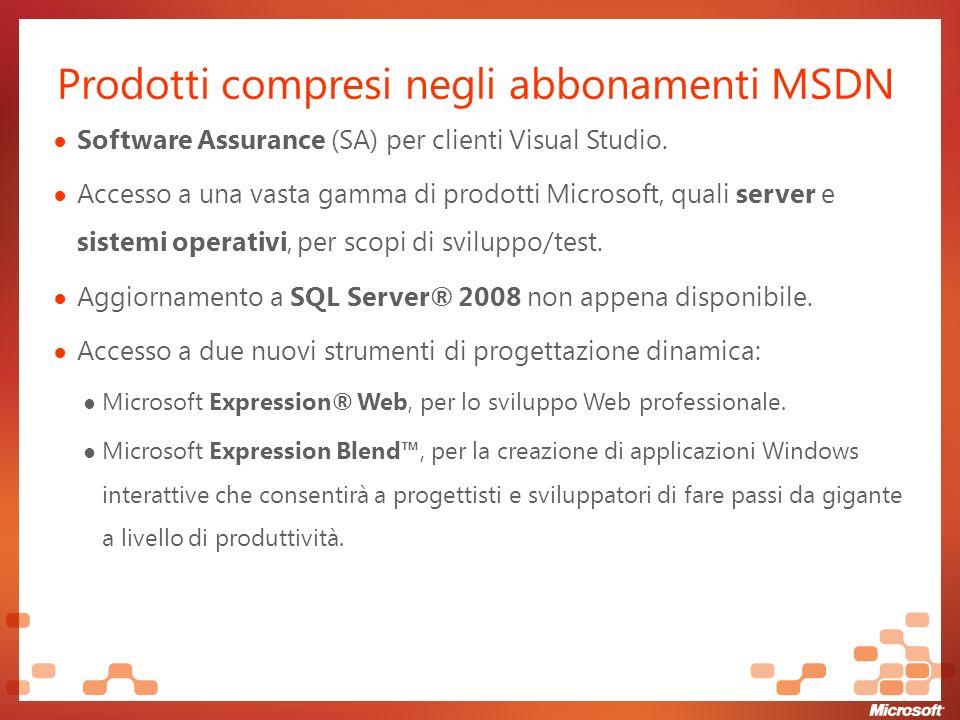 Prodotti compresi negli abbonamenti MSDN Software Assurance (SA) per clienti Visual Studio.