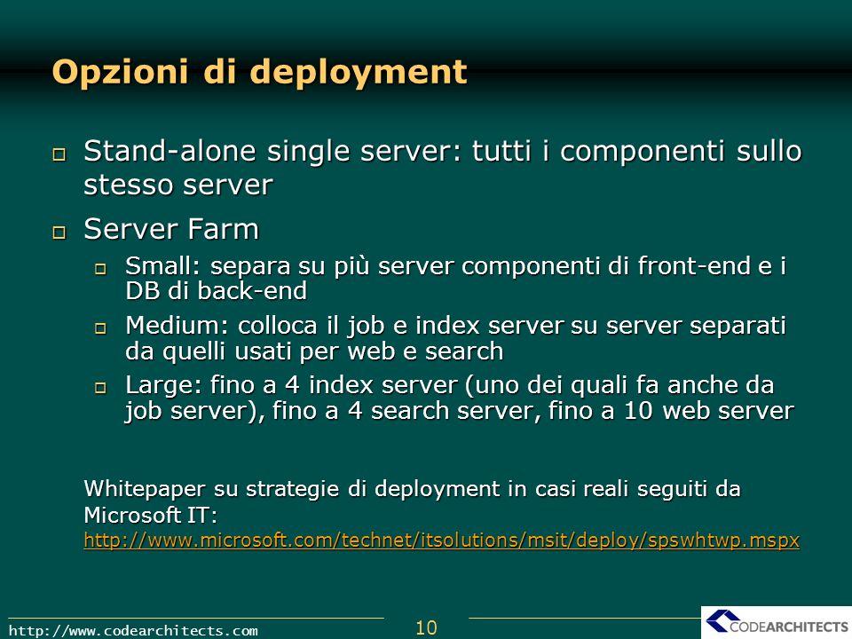 10 http://www.codearchitects.com Opzioni di deployment Stand-alone single server: tutti i componenti sullo stesso server Stand-alone single server: tu
