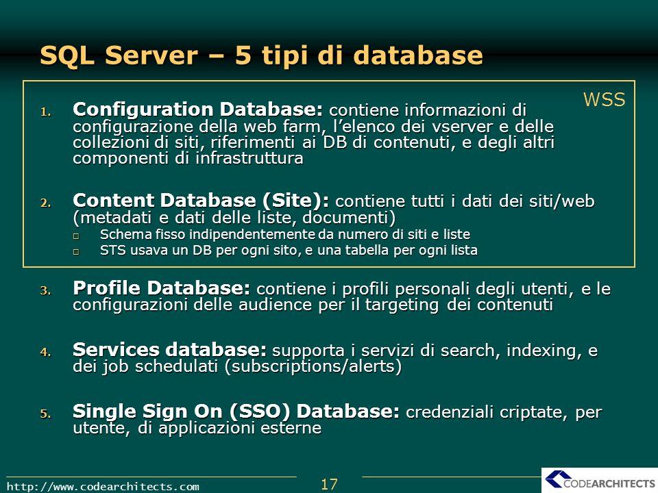 17 http://www.codearchitects.com SQL Server – 5 tipi di database 1. Configuration Database: contiene informazioni di configurazione della web farm, le