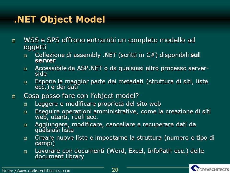20 http://www.codearchitects.com.NET Object Model WSS e SPS offrono entrambi un completo modello ad oggetti WSS e SPS offrono entrambi un completo mod