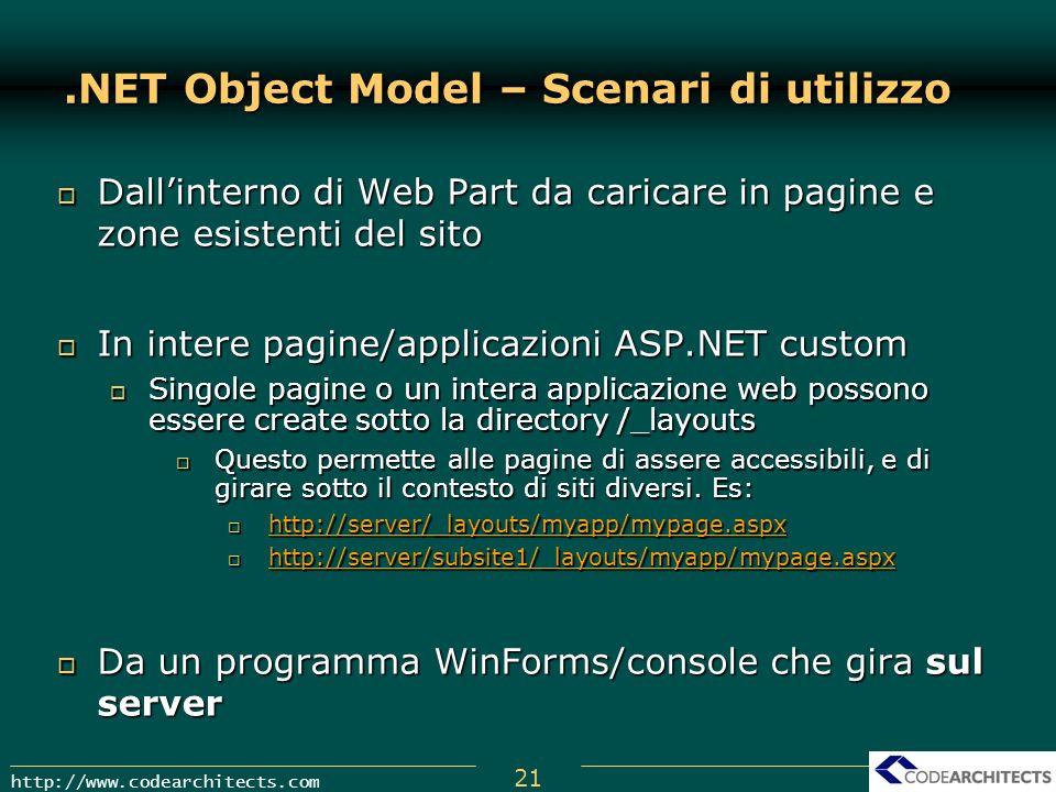 21 http://www.codearchitects.com.NET Object Model – Scenari di utilizzo Dallinterno di Web Part da caricare in pagine e zone esistenti del sito Dallin