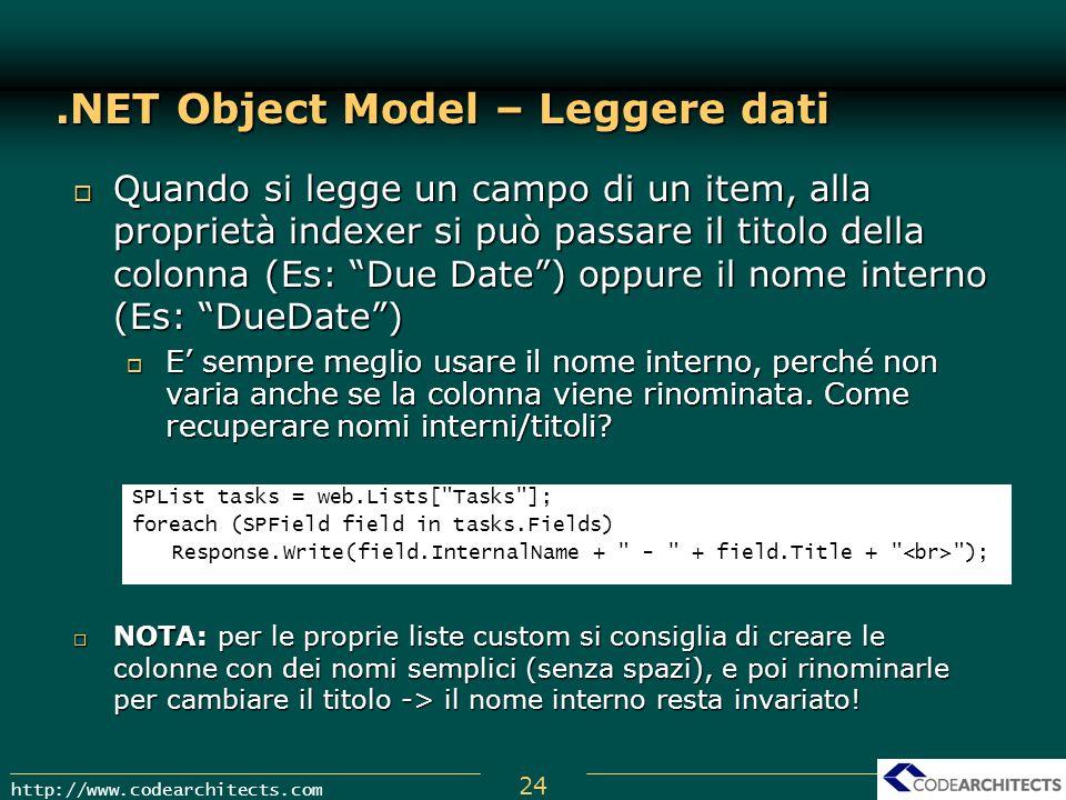 24 http://www.codearchitects.com.NET Object Model – Leggere dati Quando si legge un campo di un item, alla proprietà indexer si può passare il titolo