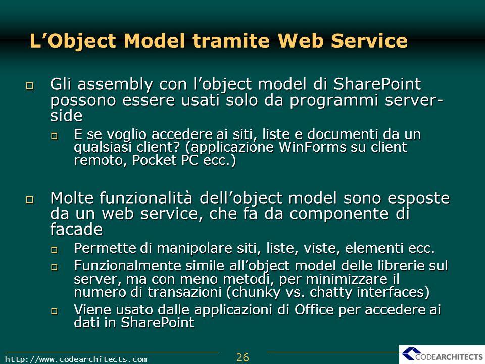 26 http://www.codearchitects.com Gli assembly con lobject model di SharePoint possono essere usati solo da programmi server- side Gli assembly con lob