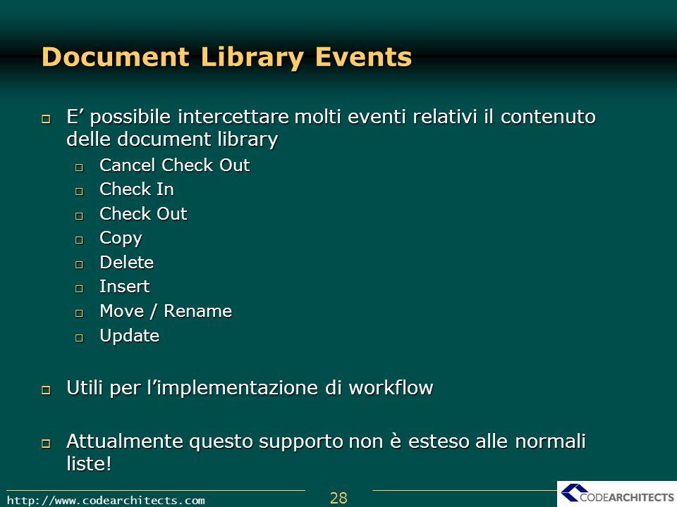 28 http://www.codearchitects.com Document Library Events E possibile intercettare molti eventi relativi il contenuto delle document library E possibil