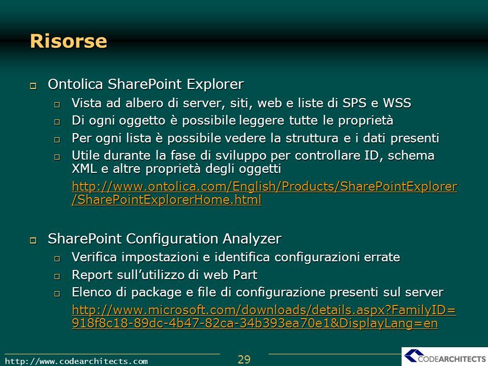 29 http://www.codearchitects.com Risorse Ontolica SharePoint Explorer Ontolica SharePoint Explorer Vista ad albero di server, siti, web e liste di SPS