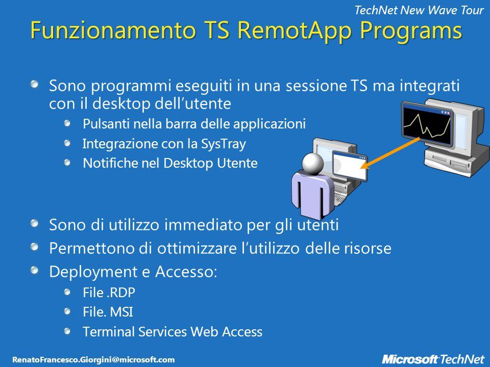 RenatoFrancesco.Giorgini@microsoft.com TechNet New Wave Tour Funzionamento TS RemotApp Programs Sono programmi eseguiti in una sessione TS ma integrat