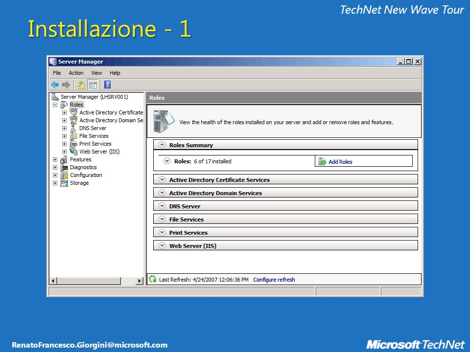 RenatoFrancesco.Giorgini@microsoft.com TechNet New Wave Tour Novità per lAutenticazione Network Level Authentication Esegue la validazione dellutente che tenta di connettersi al TS prima di far apparire la schermata di logon Permette di evitare attacchi DoS Client: Windows Vista, Windows XP SP2 con RDC 6.0 Update Server Authentication Permette di verificare lidentità del server remoto Client: Windows Vista, Windows XP SP2 con RDC 6.0 Update Single Sign-On Permette di sfruttare le credenziali di dominio (anche SmartCard) per effettuare il logon automatico ai TS Client: Windows Vista